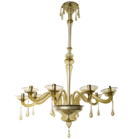 10 Arm Amber Murano Glass Chandelier by Venini