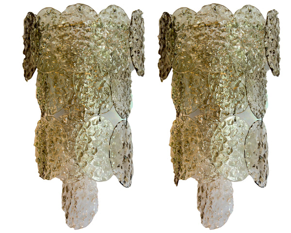 Pair of Pale Green Murano Sconces by Vistosi, 1970s