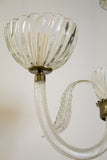 3-Arm Clear Murano Chandelier with Leaves