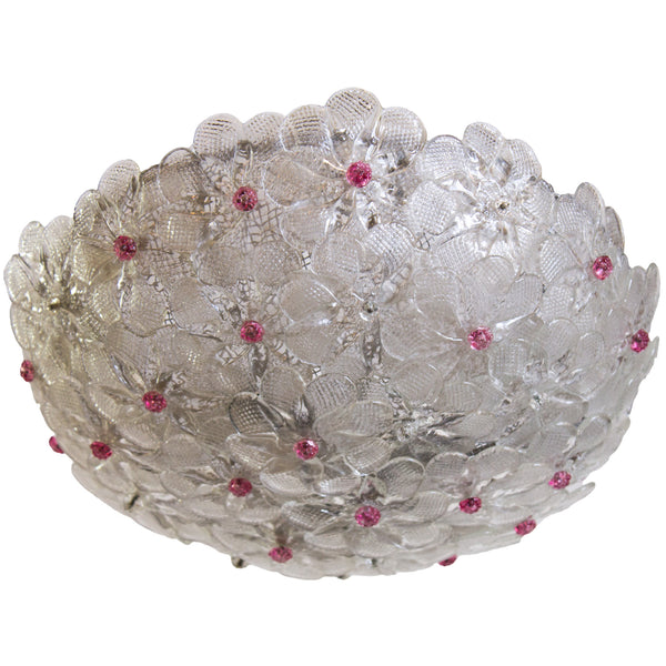 Clear Venetian Flower Basket with Pink Glass Accents