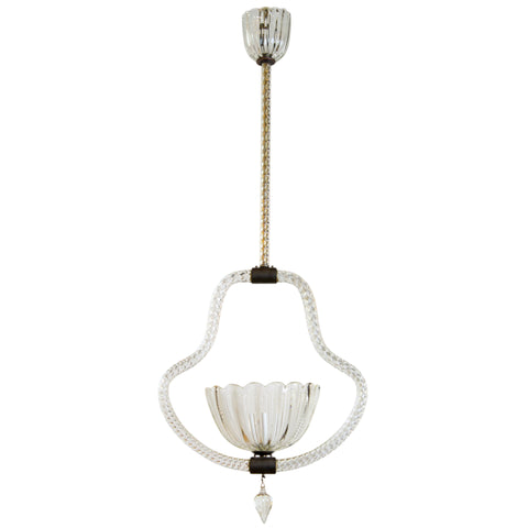 Clear Murano Pendant Fixture by Barovier circa 1930