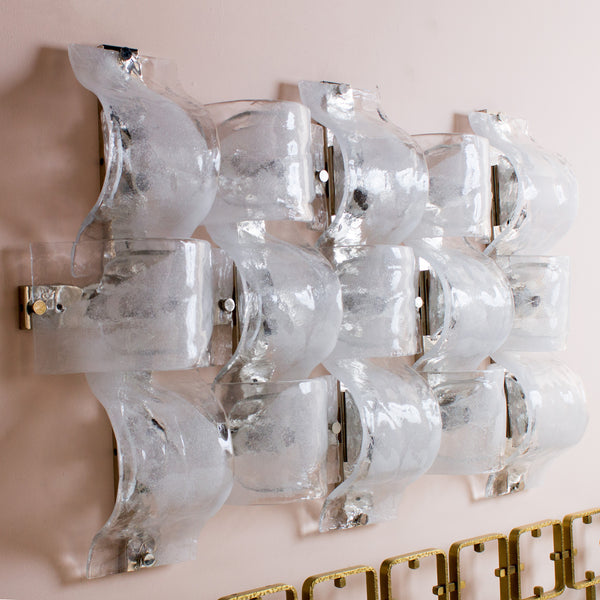 Frosted White & Clear Glass Wall Light by Aldo Nason for Mazzega