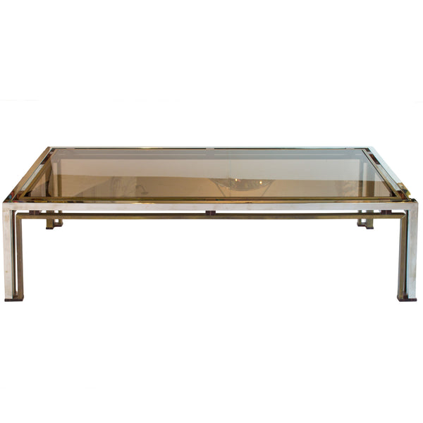 Italian Brass & Chrome Coffee Table by Romeo Rega