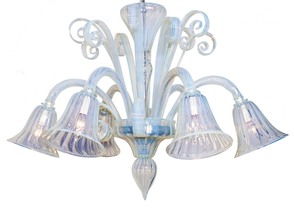 Opalescent Murano Glass Chandelier by Venini