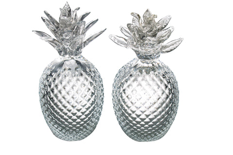 Pair of Clear Murano Glass Pineapples