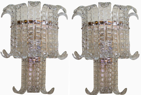 Pair of Two Tier  Murano Sconces by Barovier circa 1940's