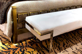 White Leather and Nickel Bench