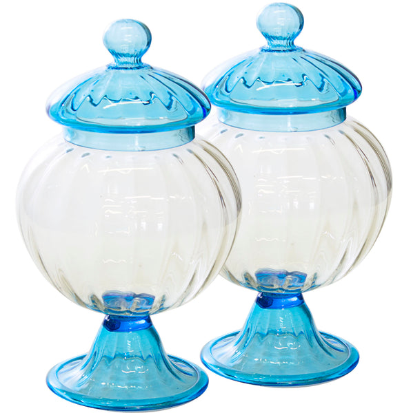 Pair of Blue Murano Glass Covered Jars c. 1950