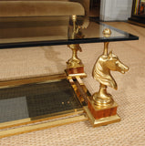 Gilt Brass & Brass Coffee Table by Maison Charles et Fils