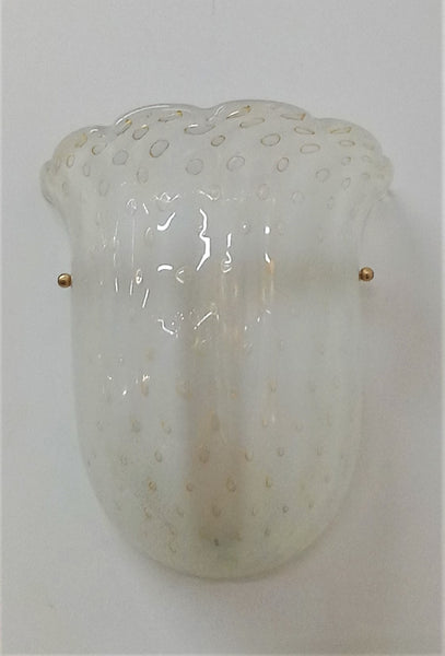 Pair of White Murano Sconces with Gold Controlled Bubbles