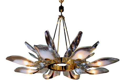 Hand Blown Murano Glass Chandelier with Brass Mounts