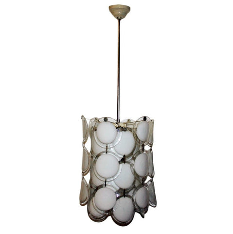 White Murano Curved Disc Chandelier by Venini