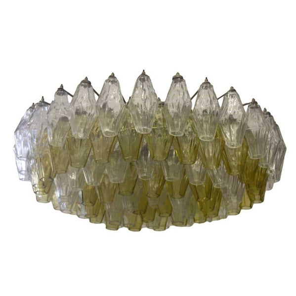 Yellow Murano Polyhedral Chandelier by Carlo Scarpa for Venini