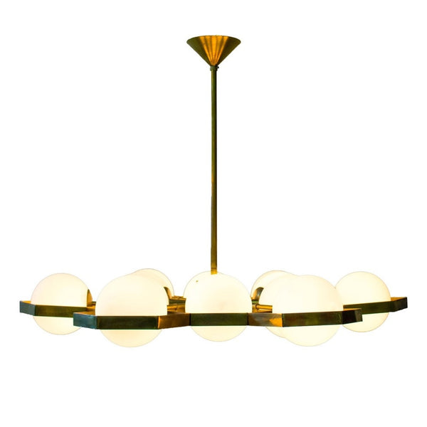 Brass & Frosted Glass Chandelier by Stilnovo