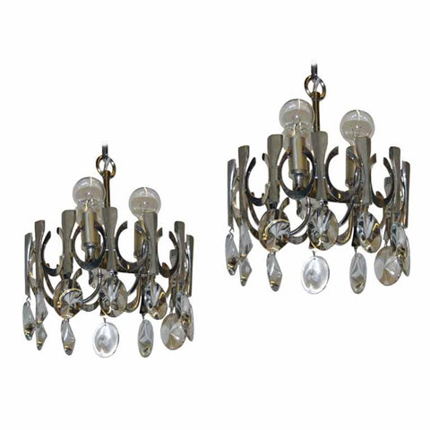 Pair of Italian Chandeliers by Gaetano Sciolari