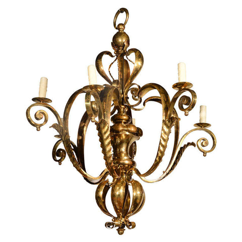 6 Arm Brass Chandelier