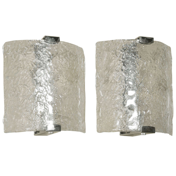 Pair Of Murano Molded Glass Sconces By Leucos