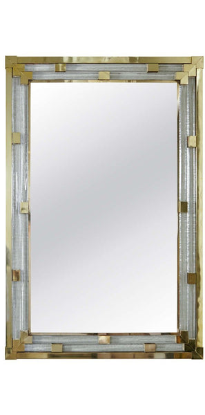 Pair of Art Deco Style Italian Mirrors in Molded & Polished Glass