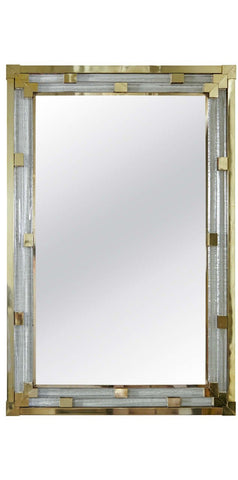 Art Deco Style Italian Mirror in Molded & Polished Glass