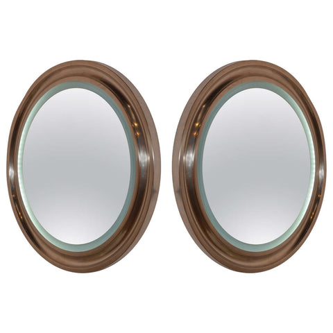 Pair of French Backlit Nickel Plated Brass Mirrors