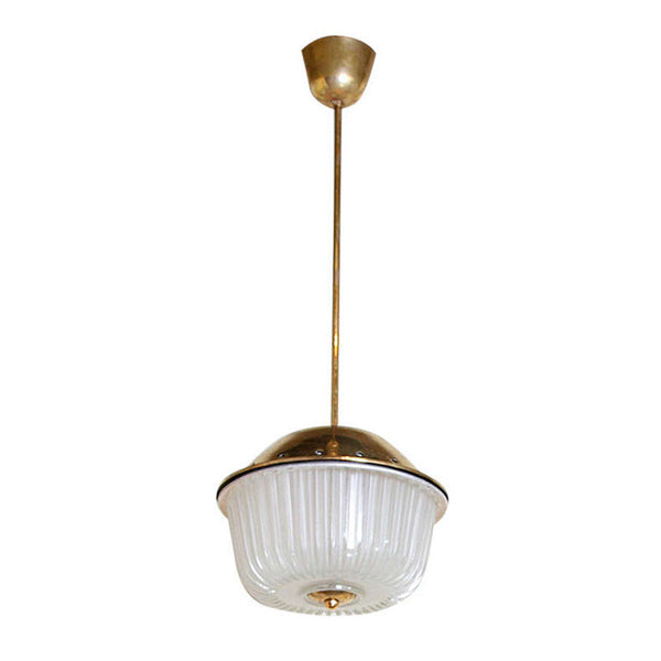 Brass & Frosted Glass Lantern by Venini