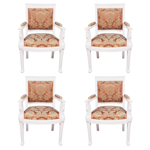 Set of 4 French Emperor Revival Armchairs