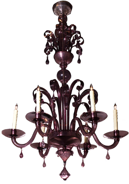6 Arm Aubergine Murano Glass Chandelier