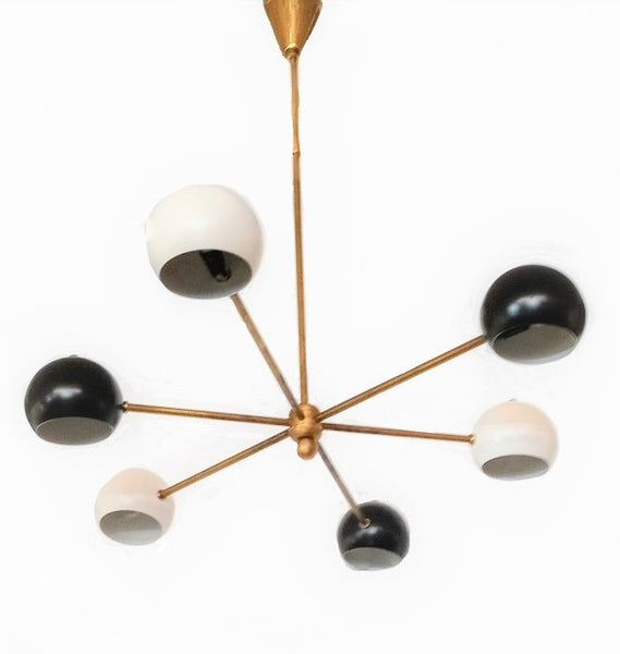 Italian Mid Century Black and White Sputnik Chandelier