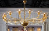 Pair of 16-Arm Amber Murano Chandeliers, circa 1940
