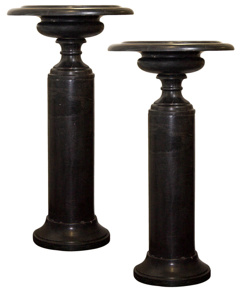 Pair of French Art Deco Belgium Black Marble Urns c.1930's
