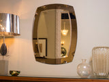 Italian Fume & Clear Mirror with etched details circa 1970s