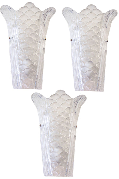 Set of 3 Large Murano Glass Sconces c. 1970's