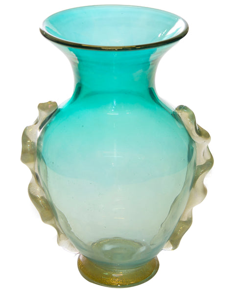 Hand Blown Murano Glass Vase in Teal and Gold c.1940