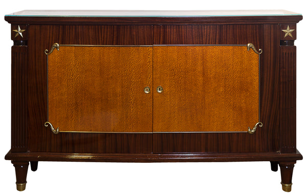 French 1940's Two Door buffet in Mahogany with Brass Stars