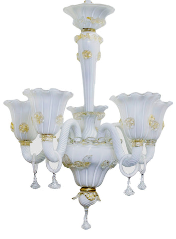 Small White and Gold 5 Arm Murano Chandelier c. 1950