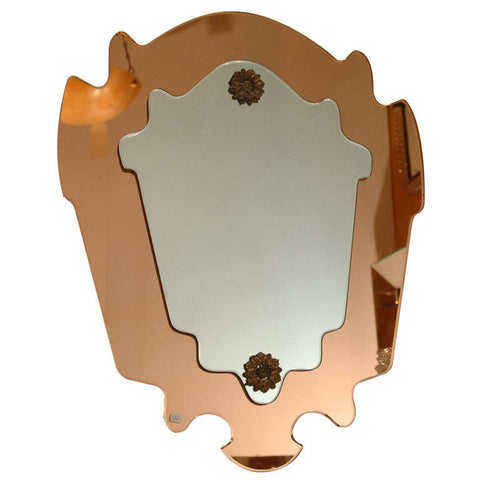 Italian Bronze & Clear Shield Form Mirror