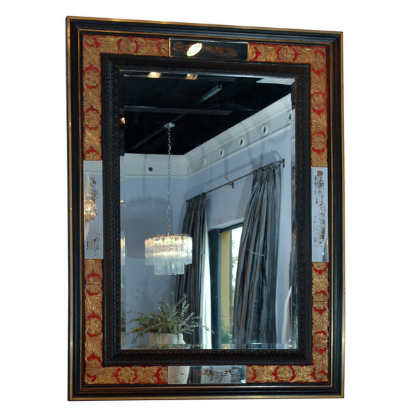 Spanish Style Gilt Leather & Ebonized Mirror