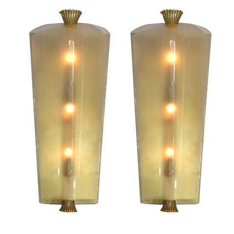 Pair of Glass Sconces by Atelier Jean Perzel