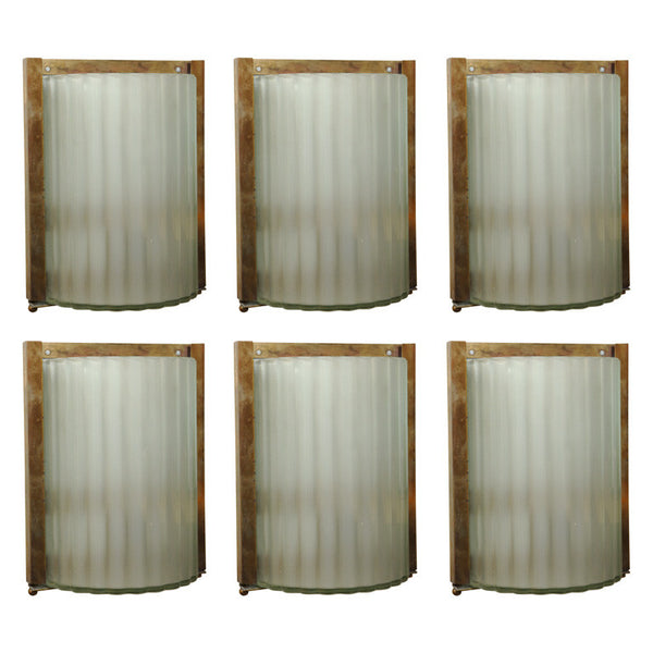 Three Pairs of Italian Glass & Brass Sconces made for Marco Polo Airport ( Venice )