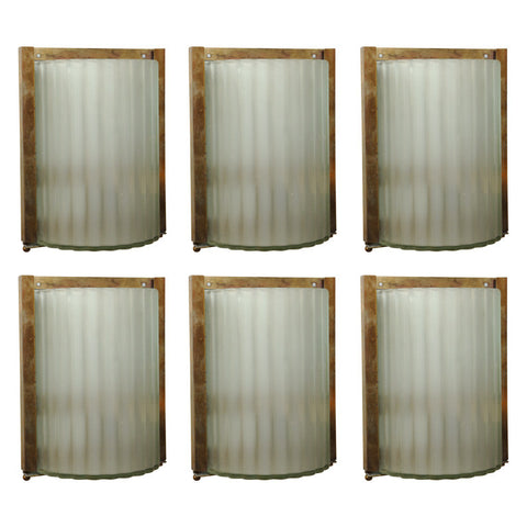 Set of 6 Opaque Fluted Glass Sconces