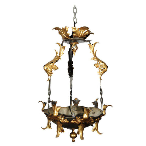 French Rococo Revival Gilt Iron Chandelier