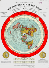 Gleason map of 1890s stating that the earth is stationary and the Sun and Moon rotates above Earth's Surface.