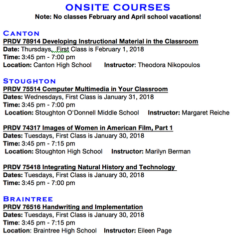 ONSITE CLASSES