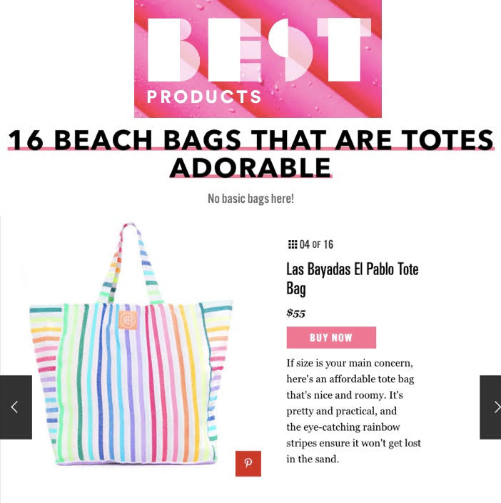 Practical and pretty rainbow stripe beach tote Pablo from Las Bayadas
