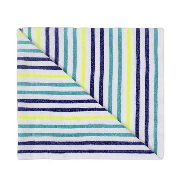 Beach blanket with green, blue and yellow stripes