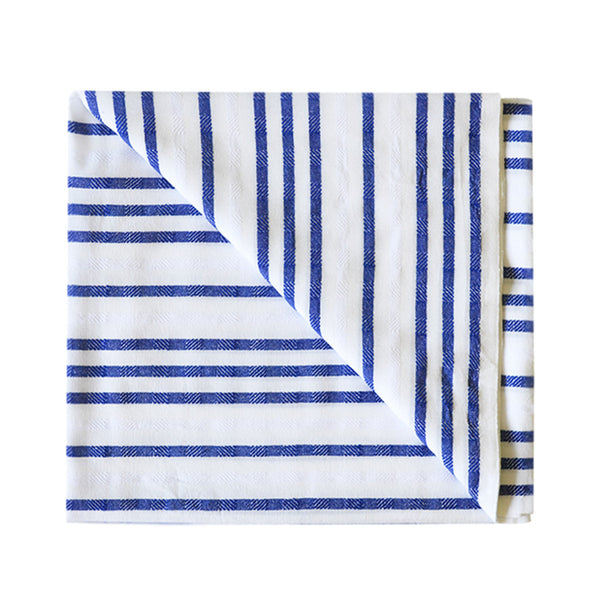 Beach blanket with blue stripes