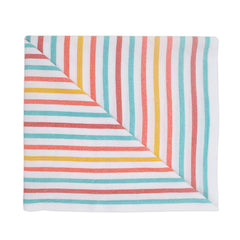 Beach blanket with blue, orange and yellow stripes