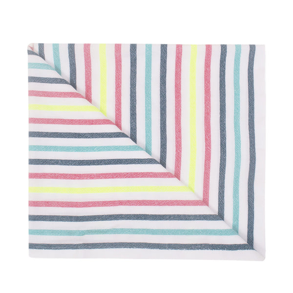 Beach blanket with green, blue, yellow and rosa stripes
