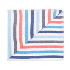 Beach blanket with grey, blue and orange stripes