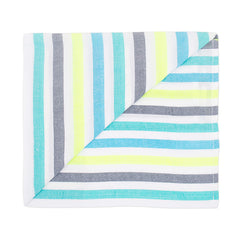 Beach blanket with blue, green and yellow stripes